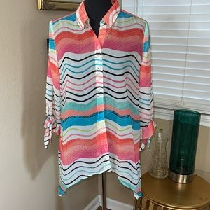 CHICOS SHEER MULTI COLORED TOP SZ 1